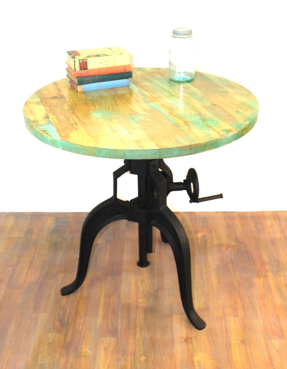Iron Round Crank Handle Vintage Side TABLE Diameter Wood Top Old - Old fashioned side table