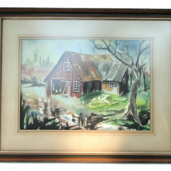 Old Vintage Watercolor Painting of two sided Barn Yard & Trees Signed Listed Artist ?