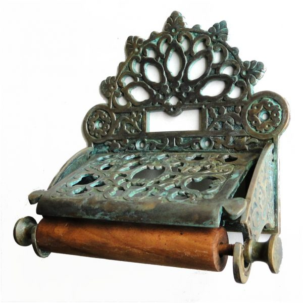 Tiffany fnsh Brass French Victorian Toilet Paper Holder w Fan Top vintage antique replica