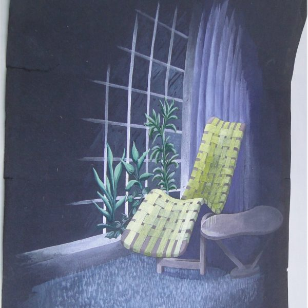 Danish Modern Pastel Painting on Black with Eames Era Garden Chair & Side Table WOW