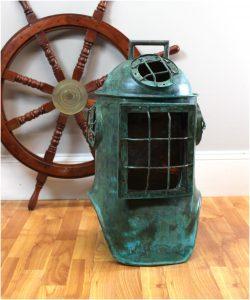 Antique Replica AGED DIVER HELMET Life Size Solid Copper Old Nautical Decor Rare Diving Decor