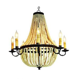 Faux Bakelite Iron and Crème Beaded Chandelier Vintage Style