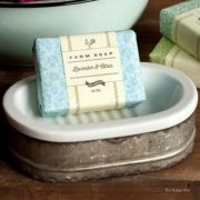 Galvanized Metal and Ceramic Soap Dish in Antique Old Style