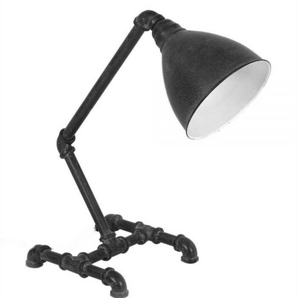 Factory Industrial Table Desk Lamp with Iron Pipe and Antique Black Aged Finish