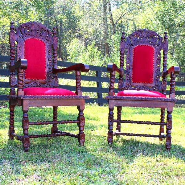 6pc Set Dining Room Chairs & Arm Chair Red Velvet Downton Abbey Antique Style