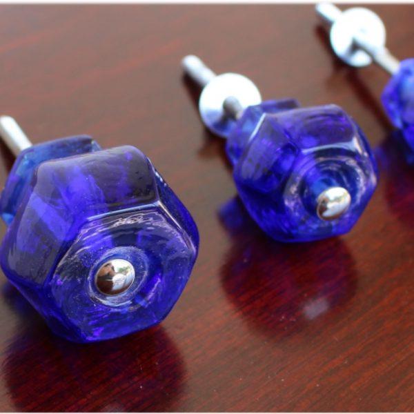 1.25″ Dark BLUE Depression Glass Cabinet Knobs Drawer Pulls Antique Style Vintage