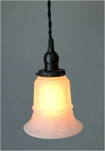 Satin Glass Shade 2 1/4″ Fitter Size Pendant Light Fixture Rayon Cord