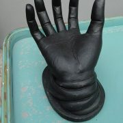 Hand Art Black on Pedestal Book Holder for Cards Display Jewelry Rings Life Size