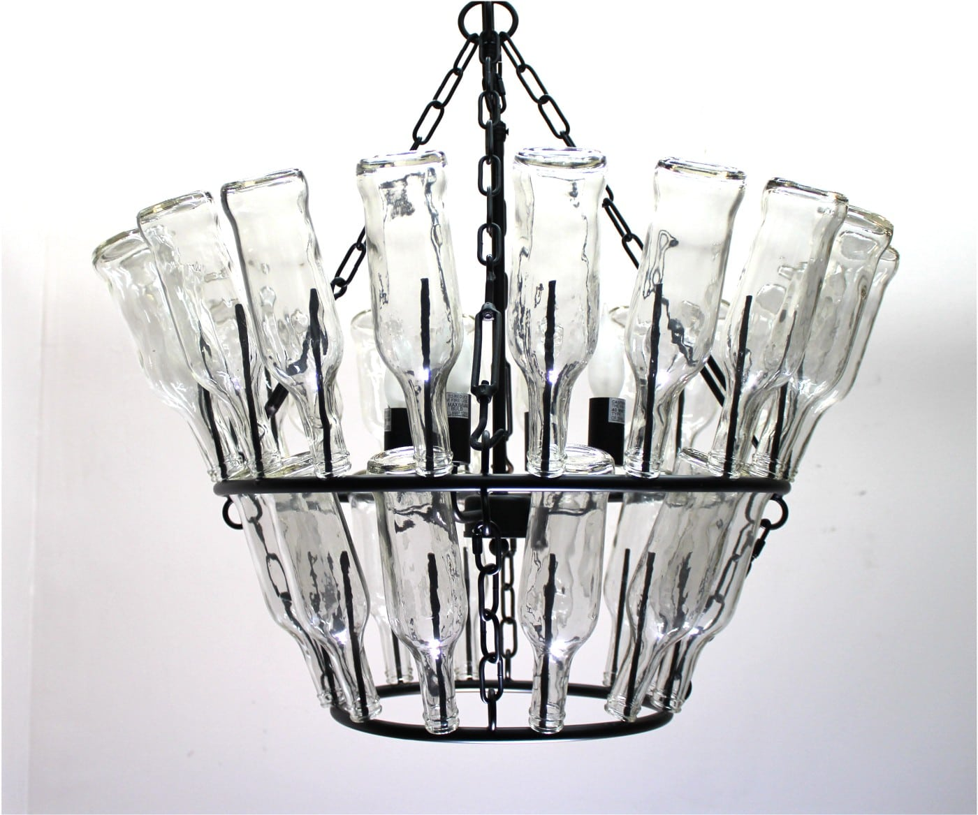 Clear Glass Bottle Wine Rack Chandelier French Vintage Style