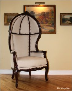 Antique Off White Dome Porters Chair Dark Mahogany French Balloon Bonnet Canopy