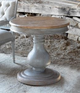 """Barn Wood Inspiration Gray Hand Painted Pillar End Table """"Grayline"""" Collection"""