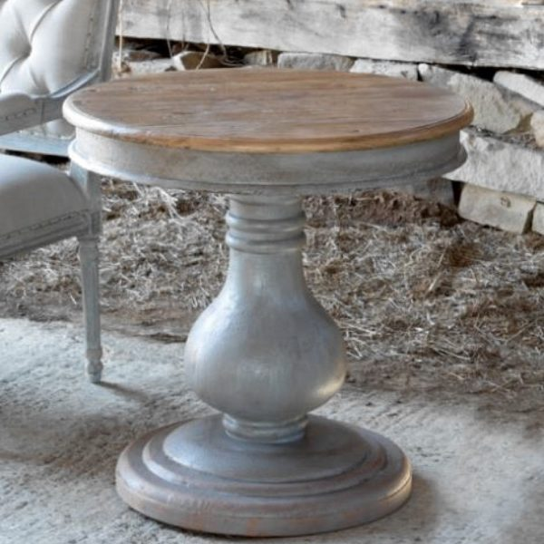 "Barn Wood Inspiration Gray Hand Painted Pillar End Table ""Grayline"" Collection"