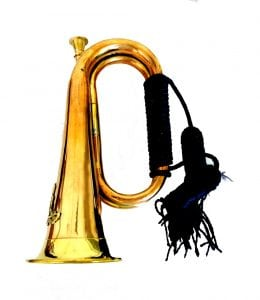 Trumpet Bugle in Copper & Brass Parade or Decor with Rope Tassel & Crest Logo