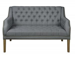 Gray Tufted Linen Fabric Settee Couch with Nail Head Trim Grey