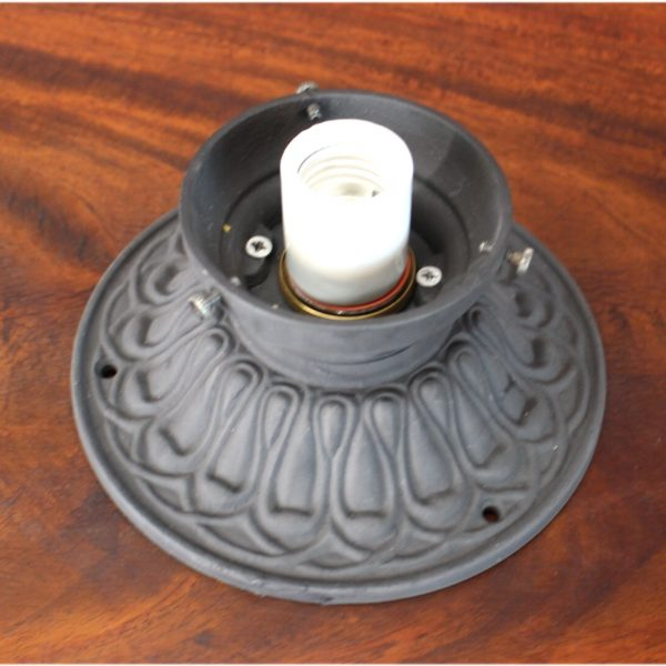 Cast Iron Ceiling Mounted Porch Light in Cast Iron 3.25″ Fitter Shade Size