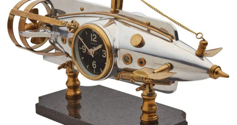 French Torpedo Jules Verne Nautilus Table Clock Nautical