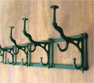 Big Wall Mount Iron French Paris Bakery Swivel Hook Rack Green