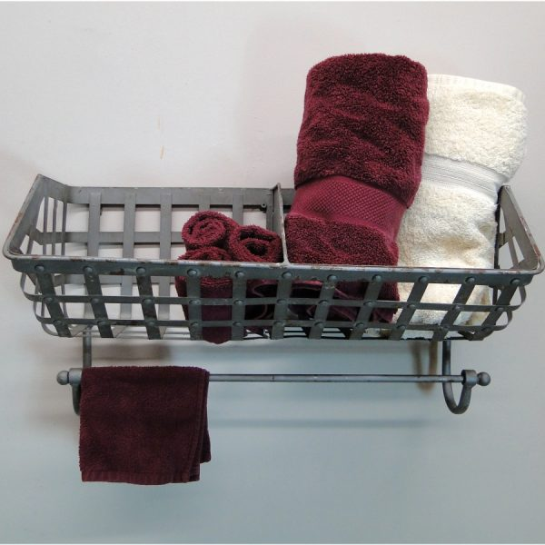 Bathroom Wall Mounted Iron Basket For Towels, Soap, Wine Bottles