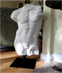Nude Michelangelo Style Roman Art Figure Statue Sculpture Faux Marble Pumice Stone