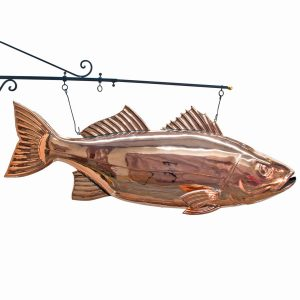 Copper Fish BASS Restaurant Vintage Kitchen Seafood BIG TRADE Hanging SIGN Jumbo