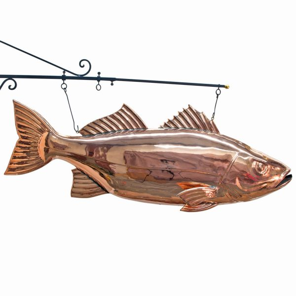 Copper Fish BASS Restaurant Vintage Kitchen Seafood BIG TRADE Hanging SIGN Jumbo