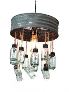Pendant Chandelier With Aged Round Metal Rim and Tiny Two Tier Light Mason Jars