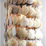 Round Cylinder Scallop Shells Chandelier Pendant Light w Iron Frame Beach High Designer Style