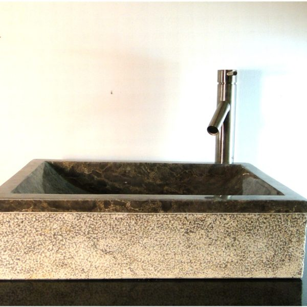 Gray Rectangle Marble Vessel Counter Top Sink w Texture Base z5e