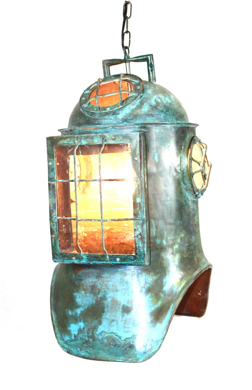 Antique replica divers helmet life size solid copper old nautical antique replica divers helmet life size solid copper old nautical pendant light mozeypictures Image collections
