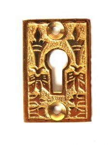 Victorian Style Rectangular Cast Brass Key Hole Cabinet and Door Hardware