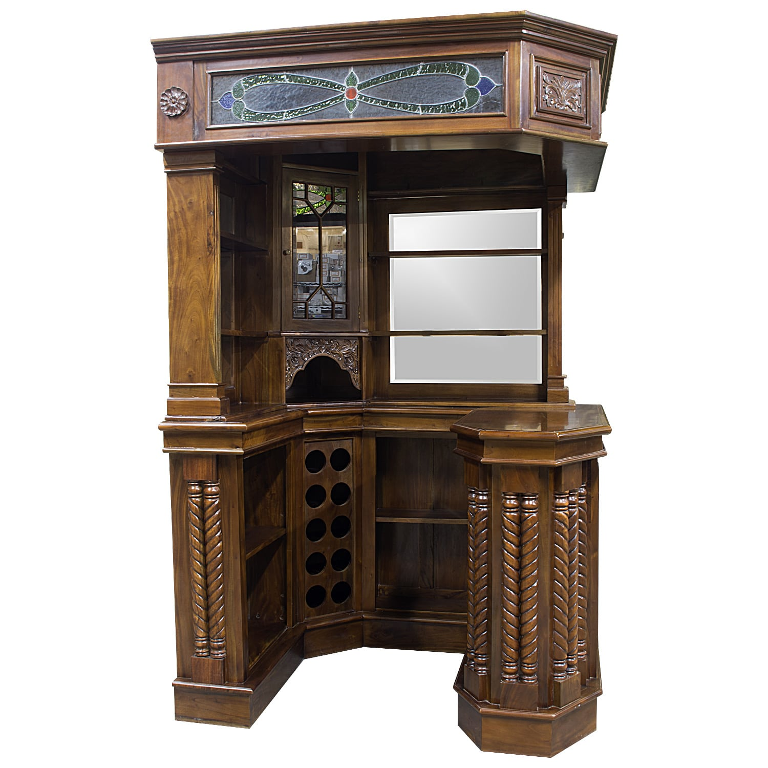 Solid Mahogany Corner Home Bar Furniture W Tiffany Glass Canopy Antique  Replica   The Kings Bay