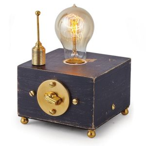 Edison Side Table Light Bulb Fixture in Old Wood Antenna and Rotary Turn Knob