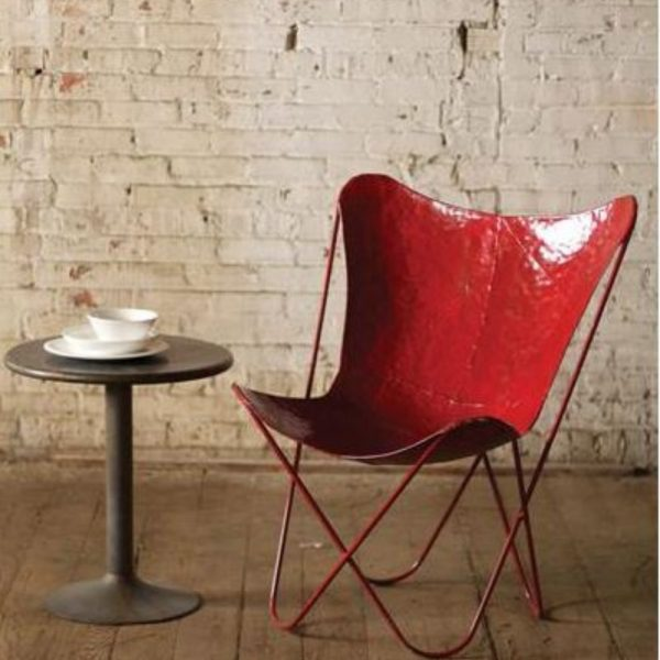 Red Painted Iron Butterfly Chair in Retro Aged Finish PAIR