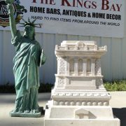 Big Statue of Liberty Sculpture with Tiffany Green Finish & Faux Stone Base