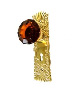 Vintage Reproduction Door Hardware Passage Set w Latch Amber Glass Knob Pair