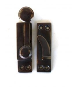 Window Sash Lock in AGED Brass Old Style Restoration Hardware Latch with pull DARKENED