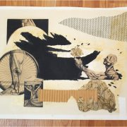Modern/Contemporary Style Signed Silverman Collage Art Circa 1960 or so, interesting