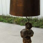 HUGE Boy with Jug Victorian Lamp Light Fixture Old Vintage w Gold Leaf Shade