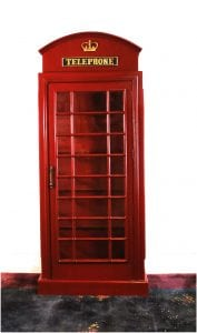 English British REPLICA Telephone Booth SHELF UNIT RED Antique Style Shelves