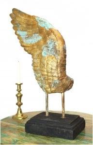 Eagle Angel Cherub GIANT WING Sculpture of Gold & Tiffany Green High Designer