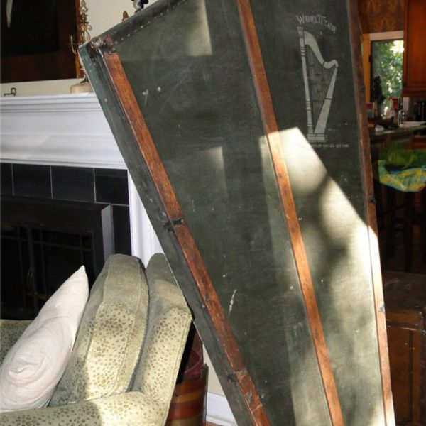 Antique Wurlitzer Harp Wall Art Vintage Case with Oak Wood Canvas Front Only, Rare
