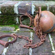 Antique YUMA Replica Cast Iron Rust Finish Jail Cell Prisoner Ball and Chain