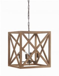 Hand Made Square Wood Natural Chandelier or Pendant Light Fixture