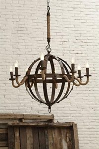 Stunning Wrought iron and rope large ball Round Chandelier Hand Crafted