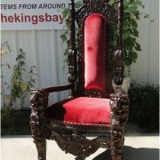 Giant Mahogany Throne Chair for King Queen Prince Princess Antique Red Velvet