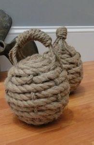 Hemp Rope Ball Heavy Door Stop Monkey Fist Nautical Sailors Knot Old Style