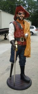 6′ Life Size Captain Hook Caribbean Pirate Statue with Wood Peg Leg Nautical