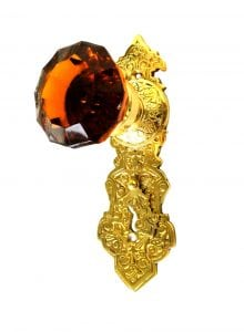 Victorian Reproduction Door Hardware Passage THE VICTORIANA Amber Glass Knobs