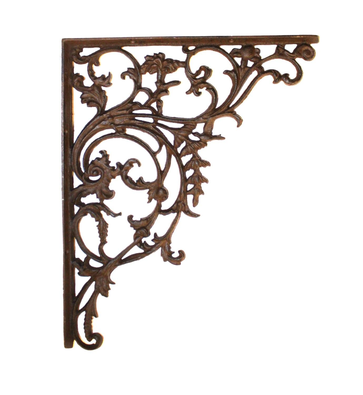 Cast Iron Wall Shelf Bracket Large 15 Leaf Victorian Style
