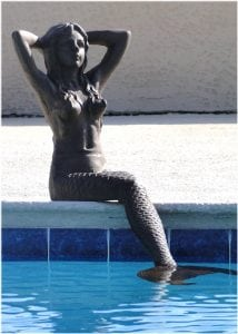 Rust Colored Cast Iron GIANT 39″ Mermaid Statue or Sculpture 52 lbs Solid Metal